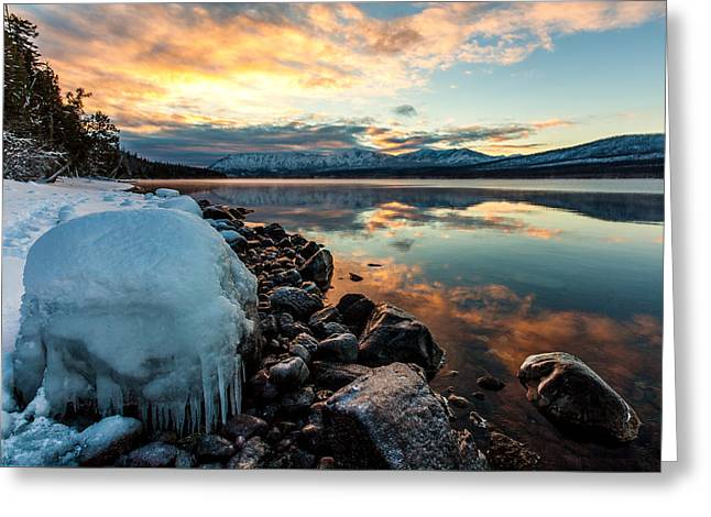 Greeting Card featuring the photograph Sunset Frozen by Aaron Aldrich