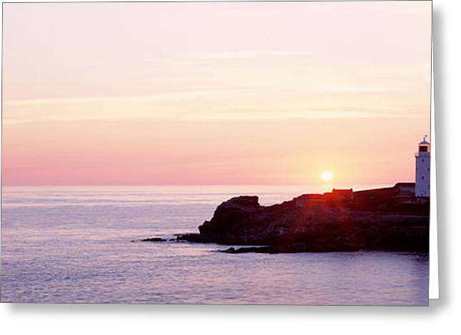 Sunset, Godrevy Lighthouse, Cornwall Greeting Card by Panoramic Images