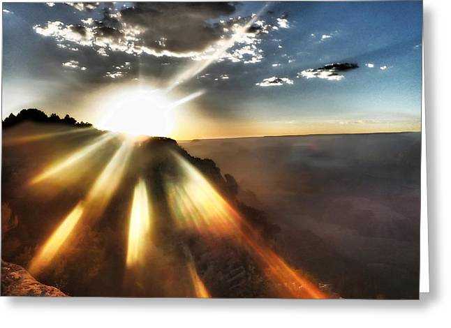 Sunset Grand Canyon Greeting Card by Lorella  Schoales