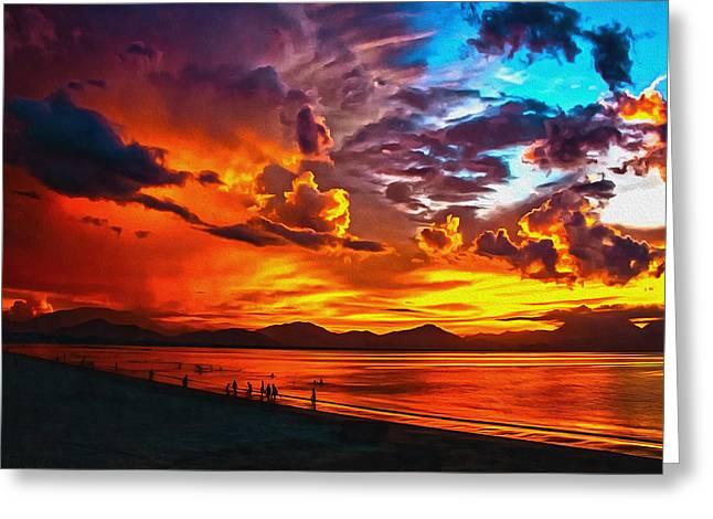 Sunset Happiness Greeting Card by Georgiana Romanovna