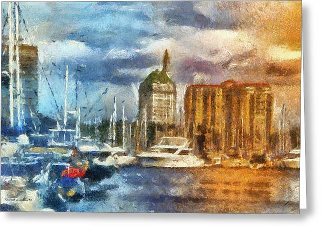 Sunset Harbor View Downtown Long Beach Ca 01 Photo Art 01 Greeting Card by Thomas Woolworth