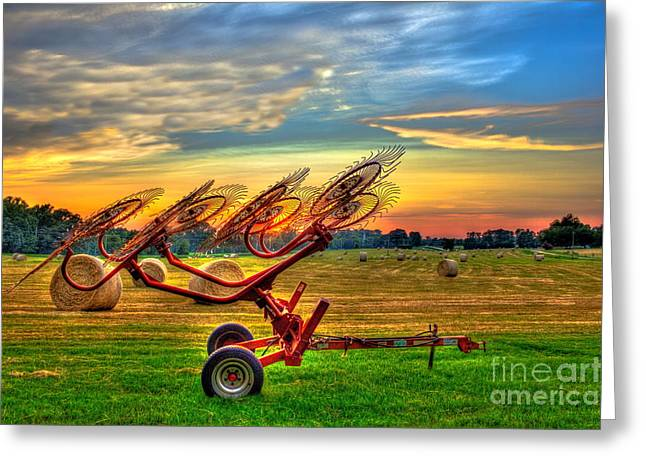 Sunset Hayrake Resting Greeting Card by Reid Callaway