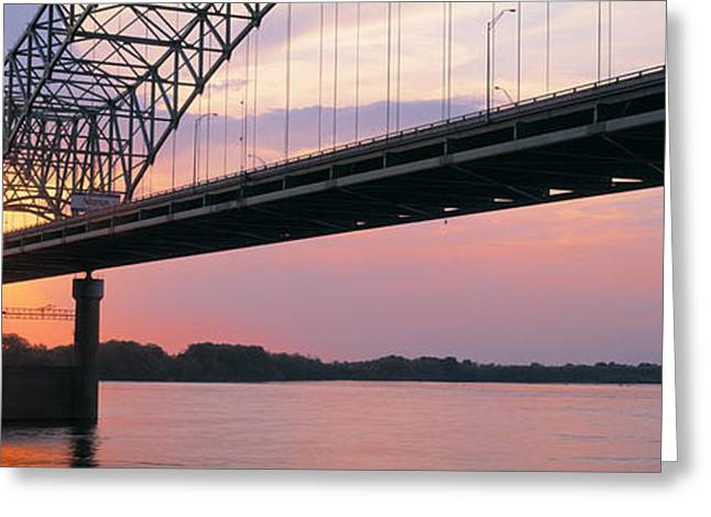 Sunset, Hernandez Desoto Bridge And Greeting Card by Panoramic Images