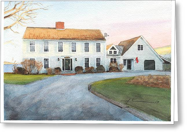 Sunset House Watercolor Portrait Greeting Card by Mike Theuer