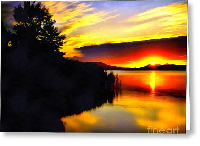 Sunset In Balaton Lake Greeting Card