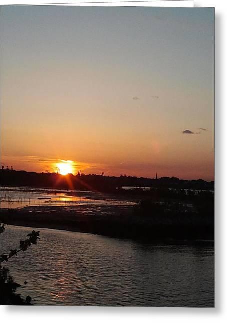 Sunset In Bayonne Greeting Card by Anastasia Konn