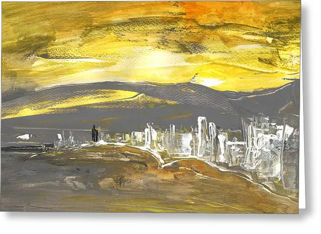 Sunset In Benidorm Greeting Card by Miki De Goodaboom