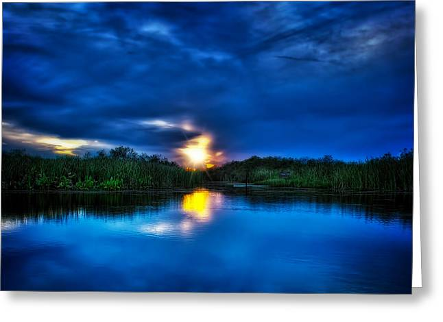 Sunset In Blue Greeting Card by Mark Andrew Thomas