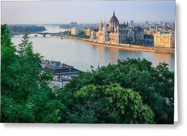 Sunset In Budapest Greeting Card