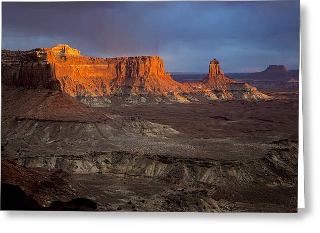 Sunset In Canyonlands Greeting Card by Dave Cleaveland