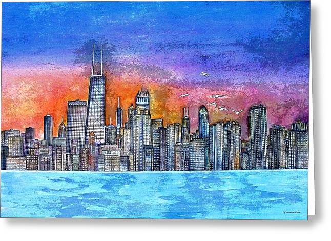 Sunset In Chicago Greeting Card