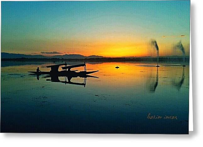 Sunset In Dal Lake Greeting Card by Hakim Imran