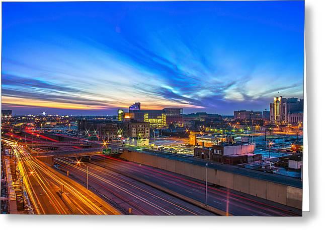 Sunset In Detroit Greeting Card by Nicholas  Grunas