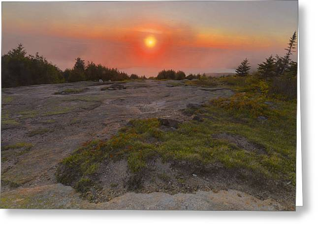 Greeting Card featuring the photograph Sunset In Fog by Stephen  Vecchiotti
