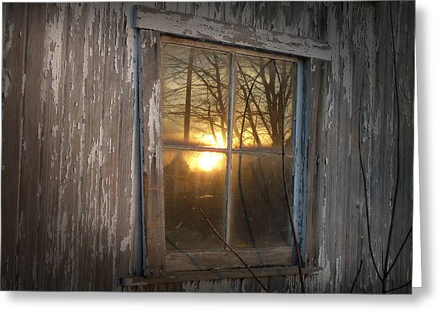 Sunset In Glass Greeting Card