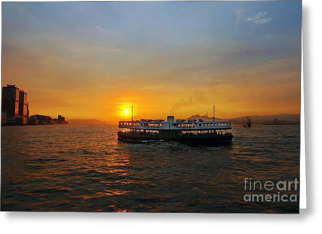 Sunset In Hong Kong With Star Ferry Greeting Card by Lars Ruecker