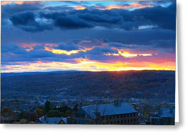 Sunset In Ithaca New York Panoramic Photography Greeting Card by Paul Ge