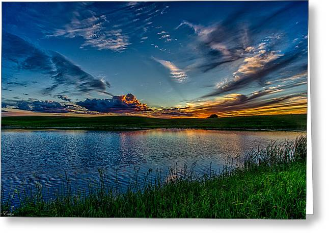 Sunset In Montana Greeting Card by Jeanie Eaton
