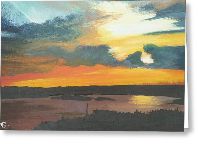 Sunset In Motion Greeting Card by Lori Royce