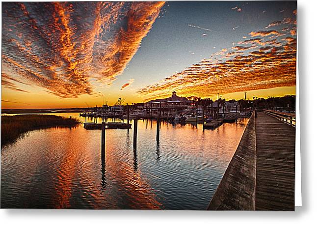 Sunset In Murells Inlet Greeting Card