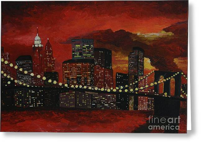 Sunset In New York Greeting Card