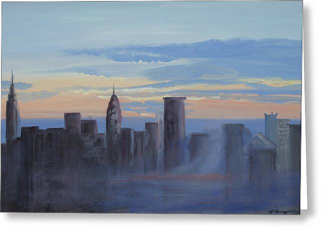 Sunset In New York Greeting Card by Patricia Kimsey Bollinger