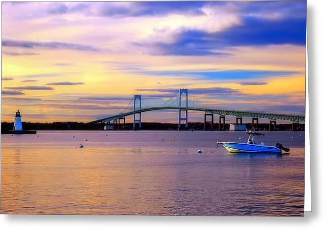 Sunset In Newport Greeting Card by Joann Vitali