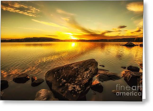 Greeting Card featuring the photograph Sunset In Our Little Village  by Rose-Maries Pictures