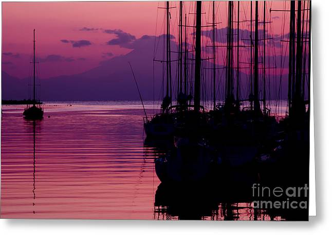 Sunset In Pink And Purple With Yachts At Bay Greeting Card