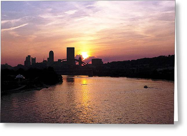Sunset In Pittsburgh Greeting Card by Joyce  Wasser