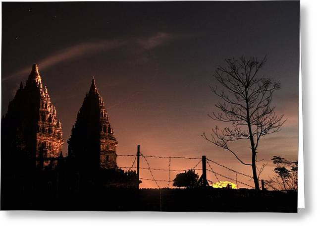 Sunset In Prambanan Greeting Card by Achmad Bachtiar