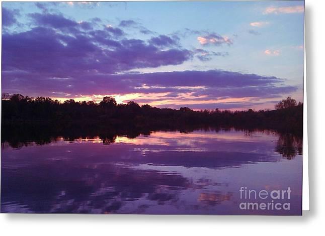 Sunset In Purple Greeting Card by R McLellan