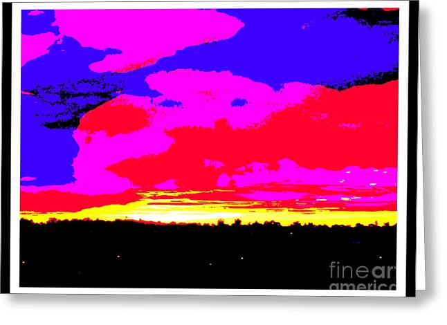 Sunset In Red Blue Yellow Pink Greeting Card by Roberto Gagliardi