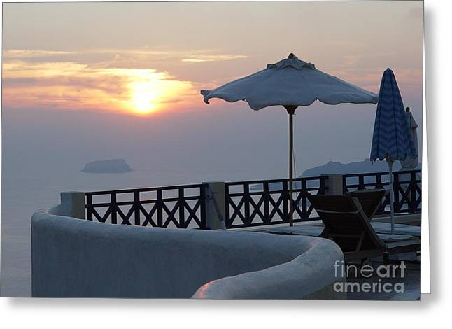 Sunset In Santorini Greeting Card by Nancy Bradley