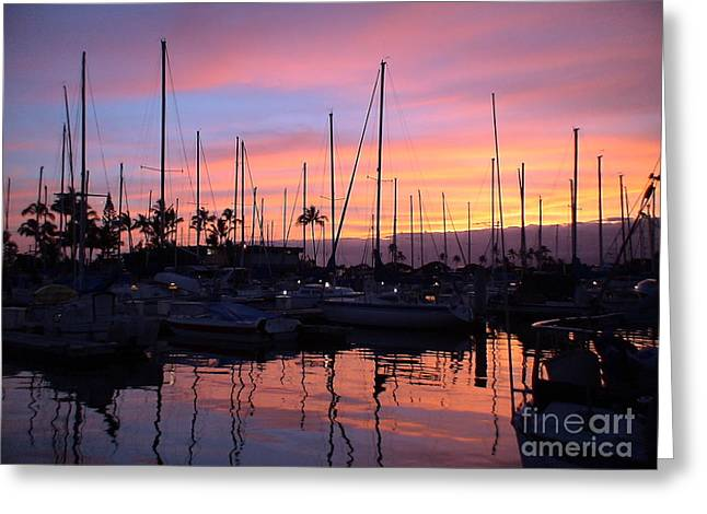 Sunset In The Ala Wai Greeting Card