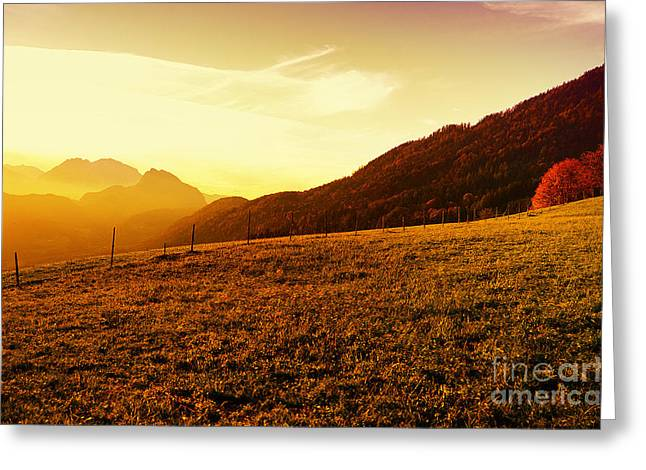 Sunset In The Autumn Austria Greeting Card