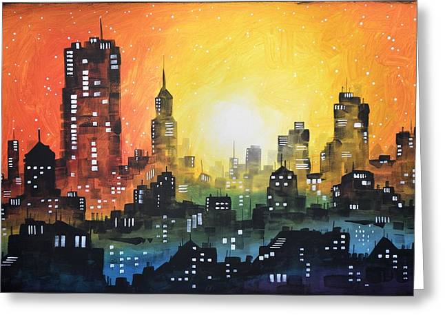 Greeting Card featuring the painting Sunset In The City by Amy Giacomelli