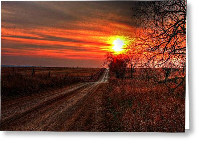 Sunset In The Country Greeting Card by Karen McKenzie McAdoo