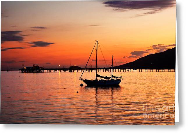 Sunset In The Harbor Greeting Card