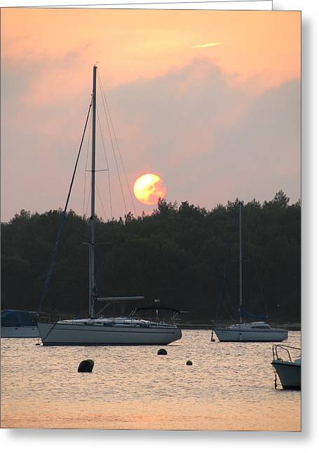 Sunset In The Port Greeting Card
