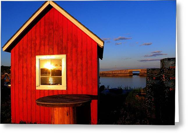 Sunset In The Window Greeting Card by Kerry Coffin