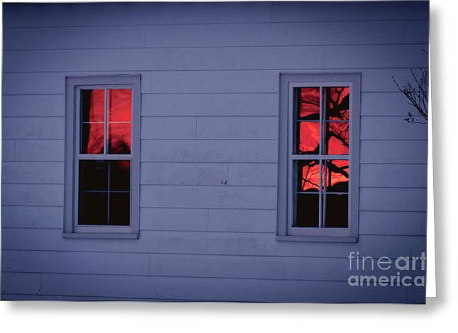 Sunset In The Windows Greeting Card by Cheryl Baxter