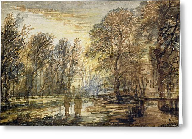 Sunset In The Wood Greeting Card by Aert van der Neer