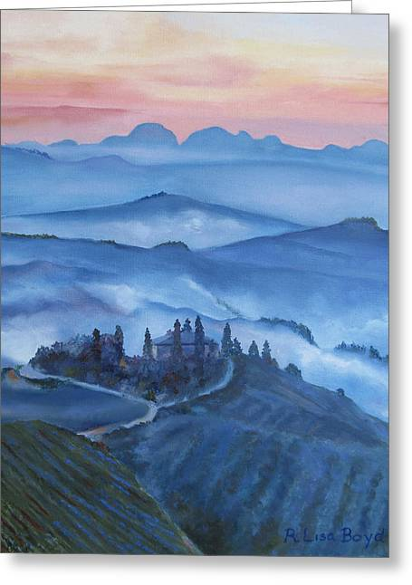 Sunsets In Tuscany Italy Greeting Card by Lisa Boyd