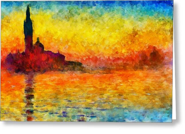 Sunset In Venice Painting By Claude Monet