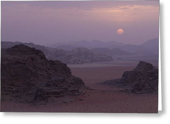 Sunset In Wadi Rum Jordan Greeting Card by Alison Buttigieg