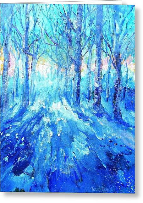 Sunset In A Winter Wood  Greeting Card by Trudi Doyle