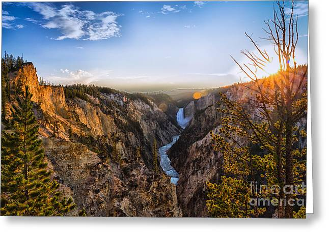 Sunset In Yellowstone Grand Canyon Greeting Card