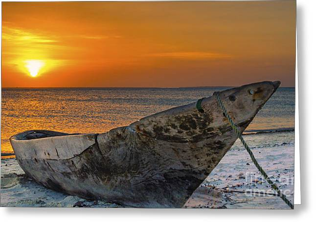 Sunset In Zanzibar - Kendwa Beach Greeting Card by Pier Giorgio Mariani