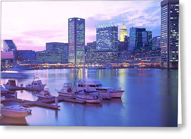 Sunset, Inner Harbor, Baltimore Greeting Card